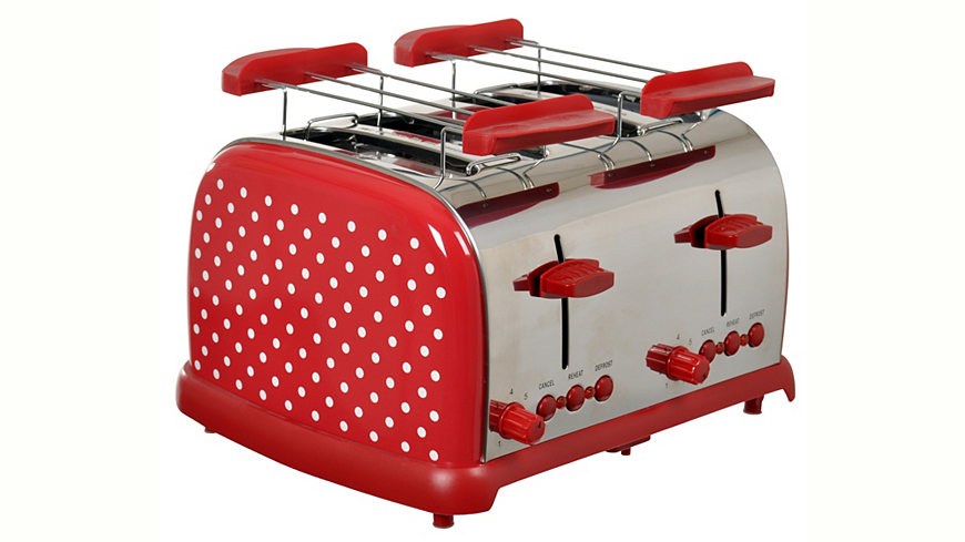 Team-Kalorik TEAM KALORIK Toaster TO 1009 RWD für 4 Scheiben, 700 Watt, rot