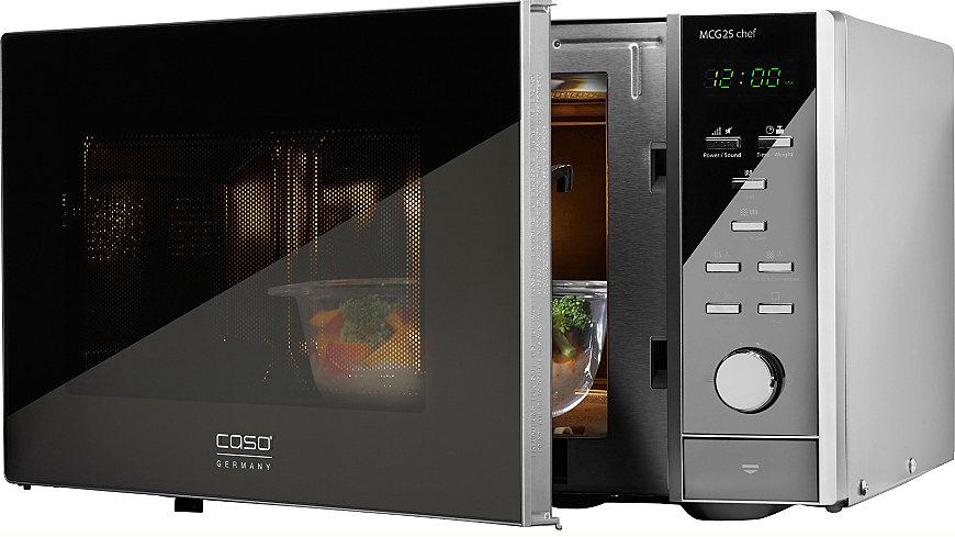 caso Germany Mikrowelle MCG25 Chef, mit Grill und Heißluft, 25 Liter, 900 Watt,